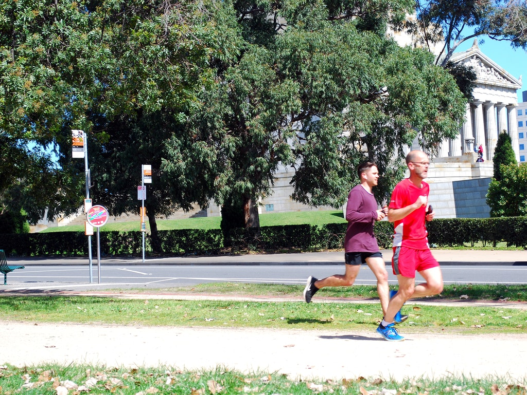 The Tan - Runners around Melbourne's Tan, with the Shrine of Remembrance in the background.