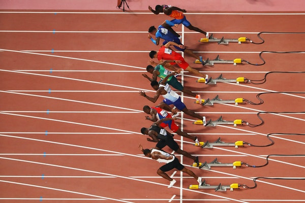 17th IAAF World Athletics Championships Doha 2019 - Day One - DOHA, QATAR - SEPTEMBER 27: A general view of the Heat 1 start during the Men's 100 metres...