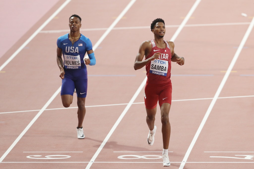 17th IAAF World Athletics Championships Doha 2019 - Day One - DOHA, QATAR - SEPTEMBER 27: TJ Holmes of the United States and Abderrahman Samba of Qatar...