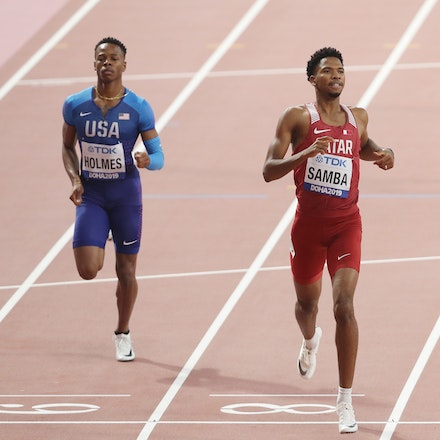 17th IAAF World Athletics Championships Doha 2019 - Day One - DOHA, QATAR - SEPTEMBER 27: TJ Holmes of the United States and Abderrahman Samba of Qatar...