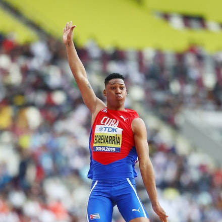 17th IAAF World Athletics Championships Doha 2019 - Day One - DOHA, QATAR - SEPTEMBER 27: Juan Miguel Echevarria of Cuba competes in the Men's Long Jump...