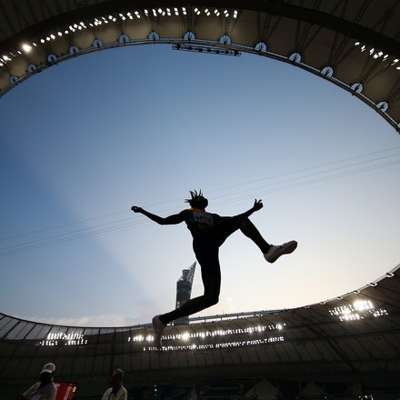 17th IAAF World Athletics Championships Doha 2019 - Day One - DOHA, QATAR - SEPTEMBER 27: Tajay Gayle of Jamaica competes in the Men's Long Jump qualification...