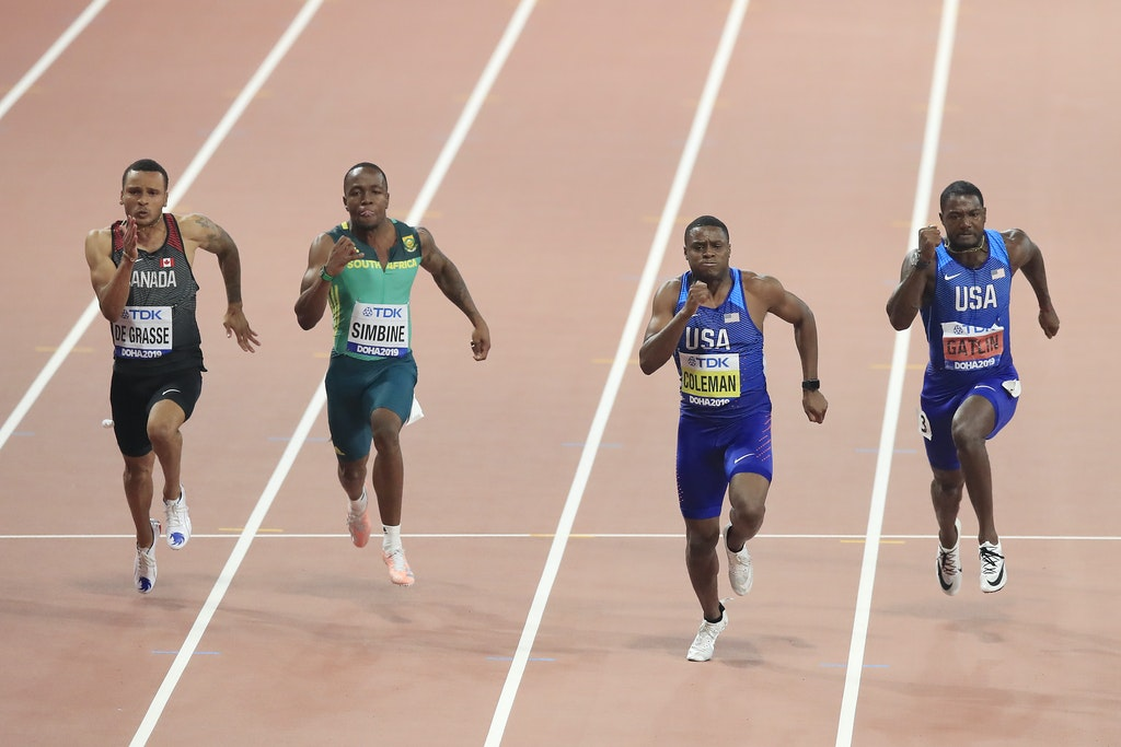 17th IAAF World Athletics Championships Doha 2019 - Day Two - DOHA, QATAR - SEPTEMBER 28: (R-L) Justin Gatlin of the United States, Christian Coleman of...