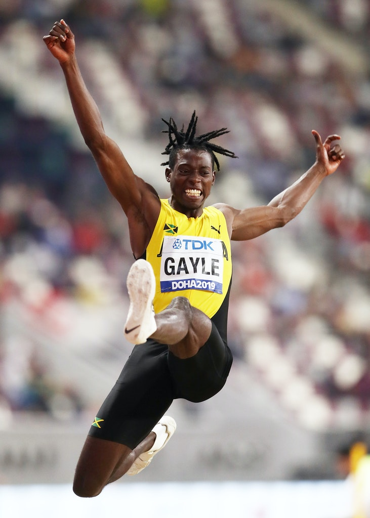 17th IAAF World Athletics Championships Doha 2019 - Day Two - DOHA, QATAR - SEPTEMBER 28: Tajay Gayle of Jamaica competes in the Men's Long Jump final...