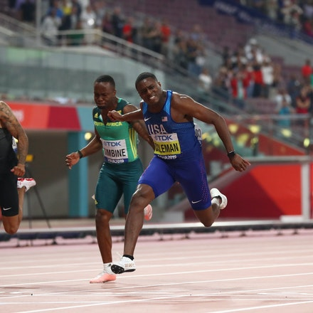17th IAAF World Athletics Championships Doha 2019 - Day Two - DOHA, QATAR - SEPTEMBER 28: Justin Gatlin of the United States, Christian Coleman of the...