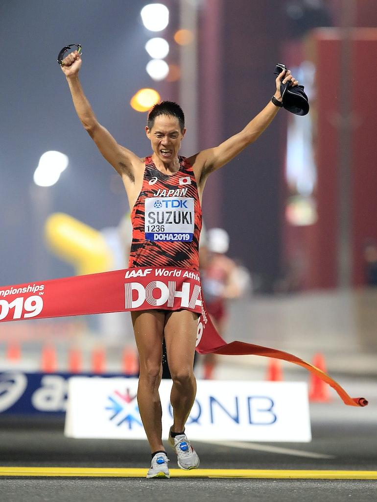 17th IAAF World Athletics Championships Doha 2019 - Day Two - DOHA, QATAR - SEPTEMBER 28:  Yusuke Suzuki of Japan crosses the finish line winning the Men's...