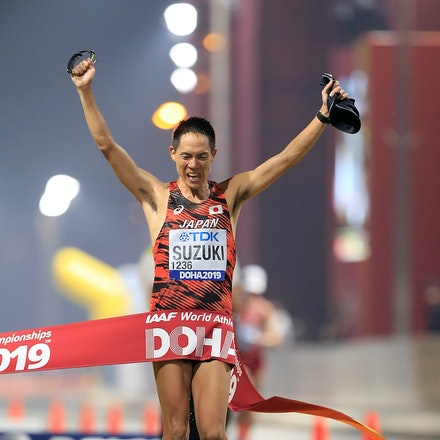 17th IAAF World Athletics Championships Doha 2019 - Day Two - DOHA, QATAR - SEPTEMBER 28:  Yusuke Suzuki of Japan crosses the finish line winning the Men's...