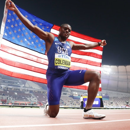 17th IAAF World Athletics Championships Doha 2019 - Day Two - DOHA, QATAR - SEPTEMBER 28: Christian Coleman of the United States celebrates winning gold...