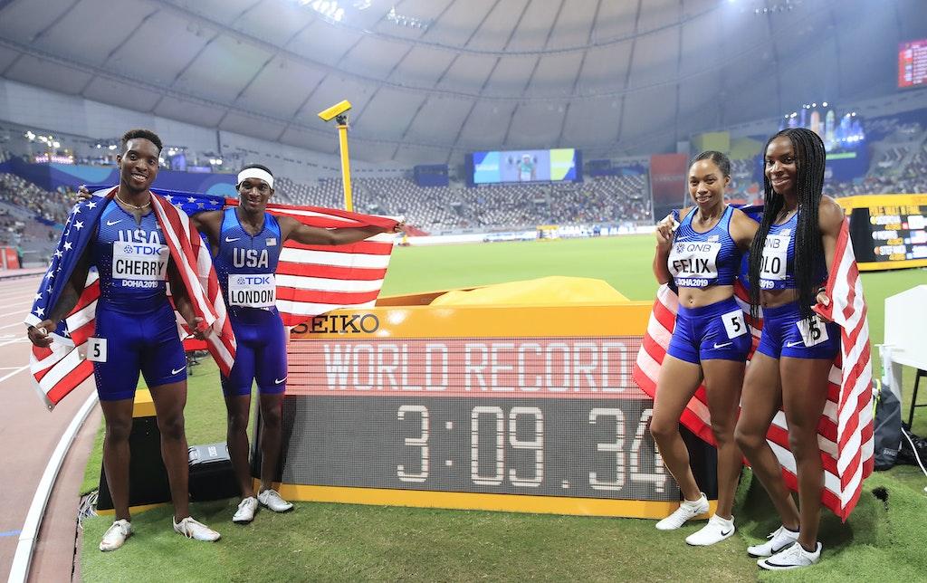 17th IAAF World Athletics Championships Doha 2019 - Day Three - DOHA, QATAR - SEPTEMBER 29: Wilbert London, Michael Cherry, Courtney Okolo and Allyson...