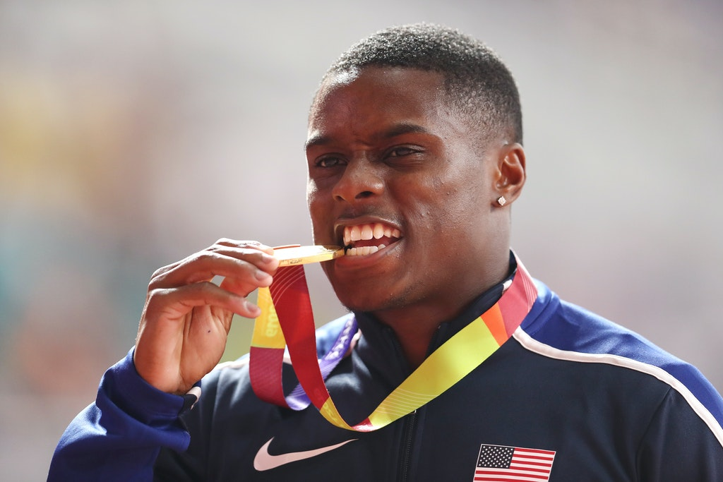 17th IAAF World Athletics Championships Doha 2019 - Day Three - DOHA, QATAR - SEPTEMBER 29:  Christian Coleman of the United States, gold, poses with his...