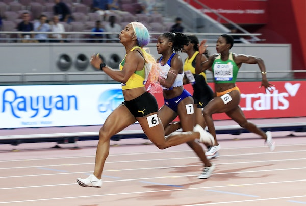 17th IAAF World Athletics Championships Doha 2019 - Day Three - DOHA, QATAR - SEPTEMBER 29: Shelly-Ann Fraser-Pryce of Jamaica competes in the Women's...