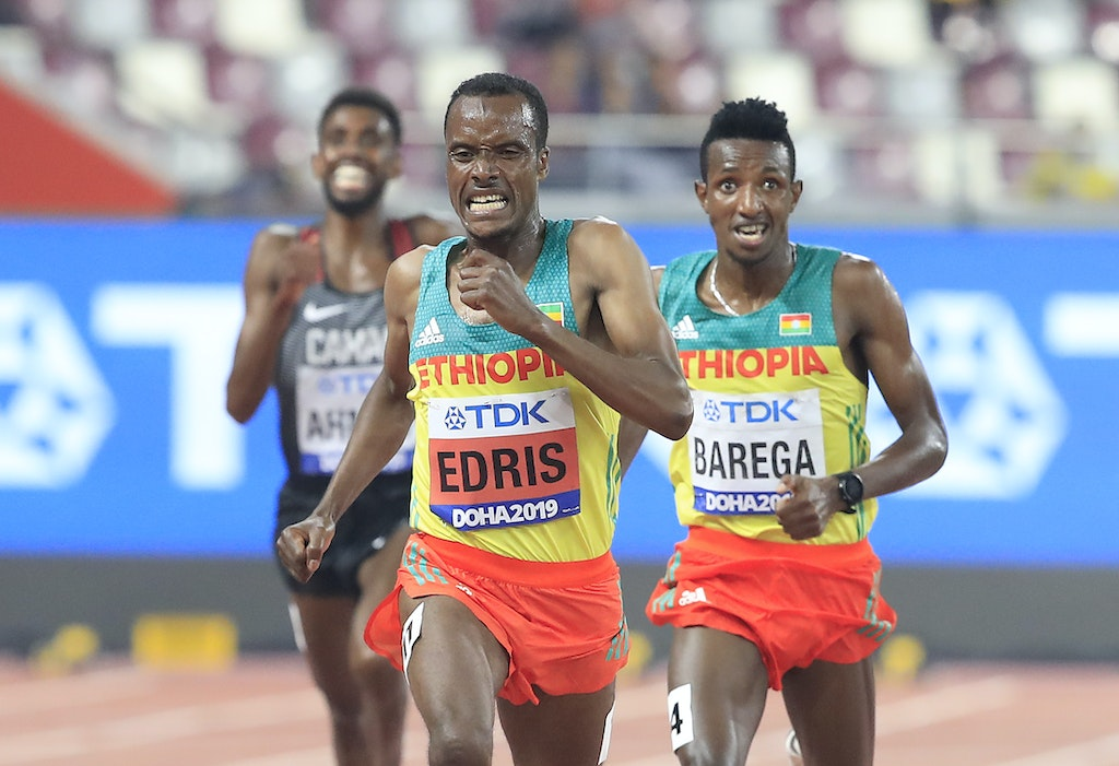 17th IAAF World Athletics Championships Doha 2019 - Day Four - DOHA, QATAR - SEPTEMBER 30: Gold medalist Muktar Edris of Ethiopia and silver medalist Selemon...