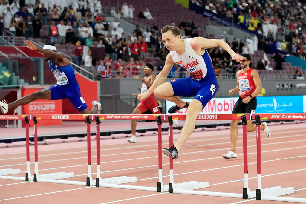 17th IAAF World Athletics Championships Doha 2019 - Day Four - DOHA, QATAR - SEPTEMBER 30: Karsten Warholm of Norway competes in the Men's 400 metres hurdles...