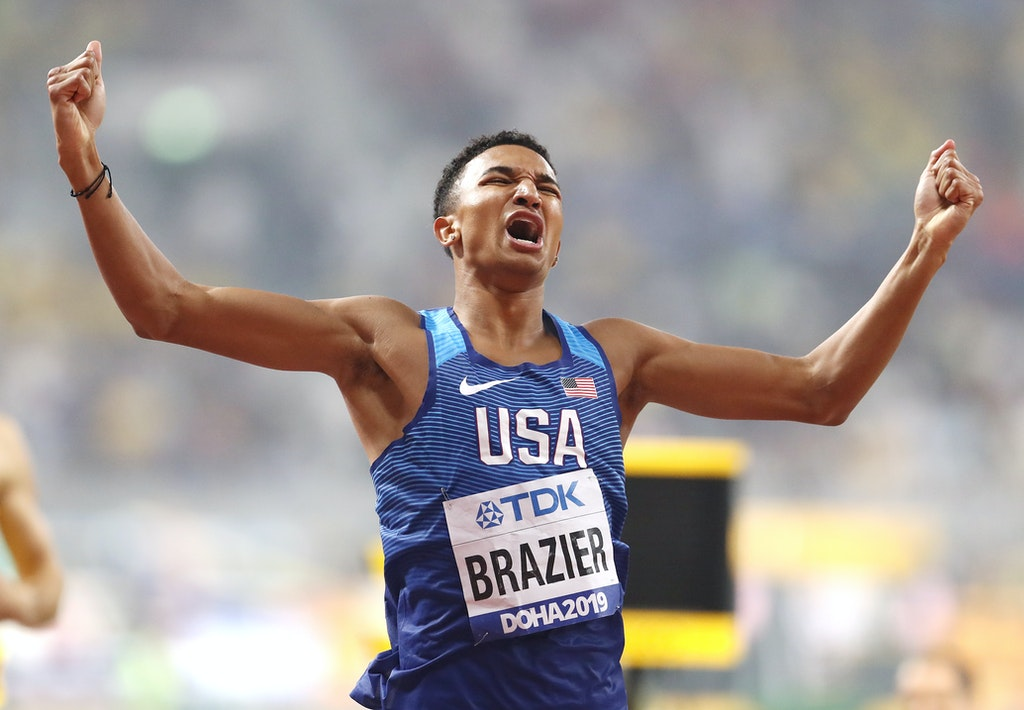 17th IAAF World Athletics Championships Doha 2019 - Day Five - DOHA, QATAR - OCTOBER 01: Donavan Brazier of the United States celebrates winning the Men's...