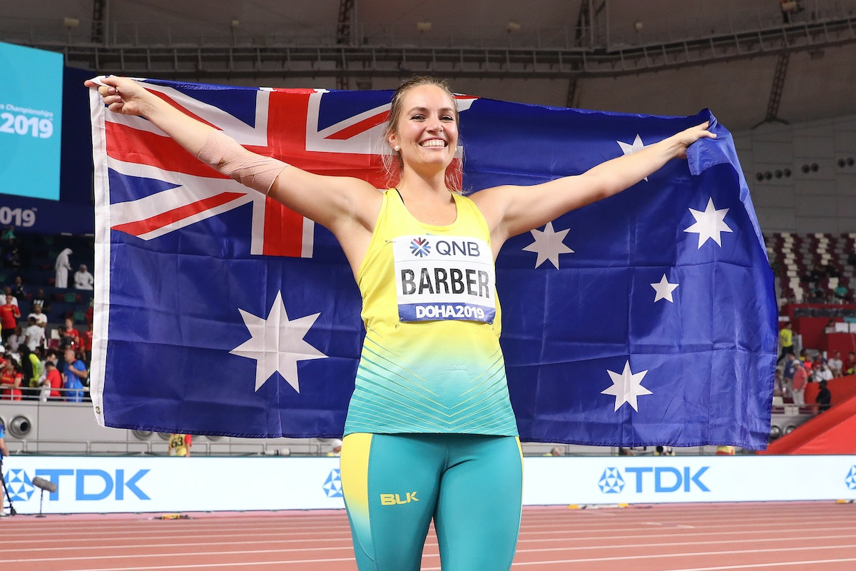 17th IAAF World Athletics Championships Doha 2019 - Day Five - DOHA, QATAR - OCTOBER 01: Kelsey-Lee Barber of Australia celebrates winning the Women's...
