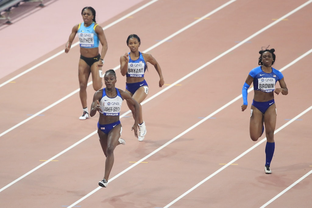 17th IAAF World Athletics Championships Doha 2019 - Day Six - DOHA, QATAR - OCTOBER 02: Dina Asher-Smith of Great Britain competes in the Women's 200 metres...