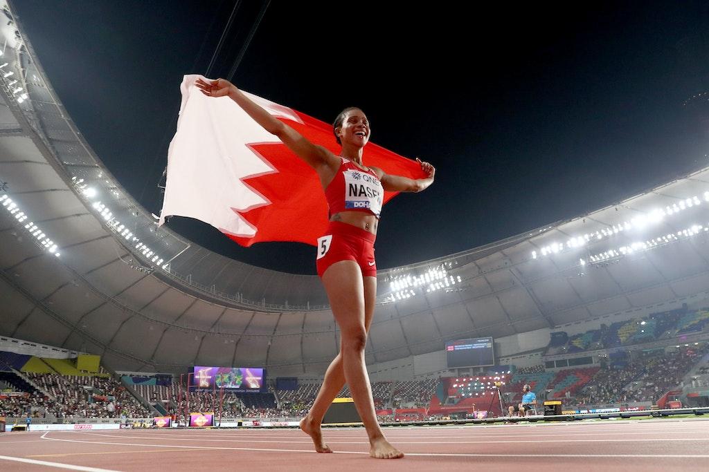 17th IAAF World Athletics Championships Doha 2019 - Day Seven - DOHA, QATAR - OCTOBER 03: Salwa Eid Naser of Bahrain celebrates winning the Women's 400...