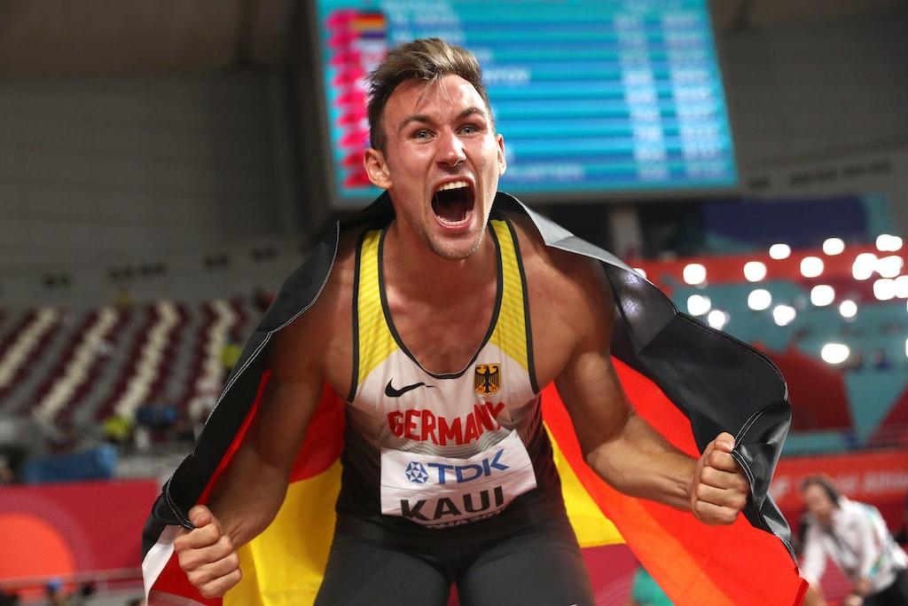 17th IAAF World Athletics Championships Doha 2019 - Day Seven - DOHA, QATAR - OCTOBER 03:  Niklas Kaul of Germany celebrates after the Men's Decathlon...