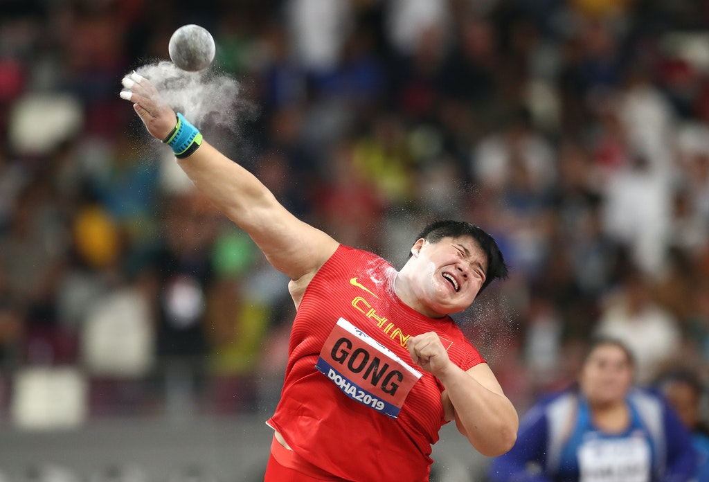 17th IAAF World Athletics Championships Doha 2019 - Day Seven - DOHA, QATAR - OCTOBER 03: Lijiao Gong of China competes in the Women's Shot Put final during...