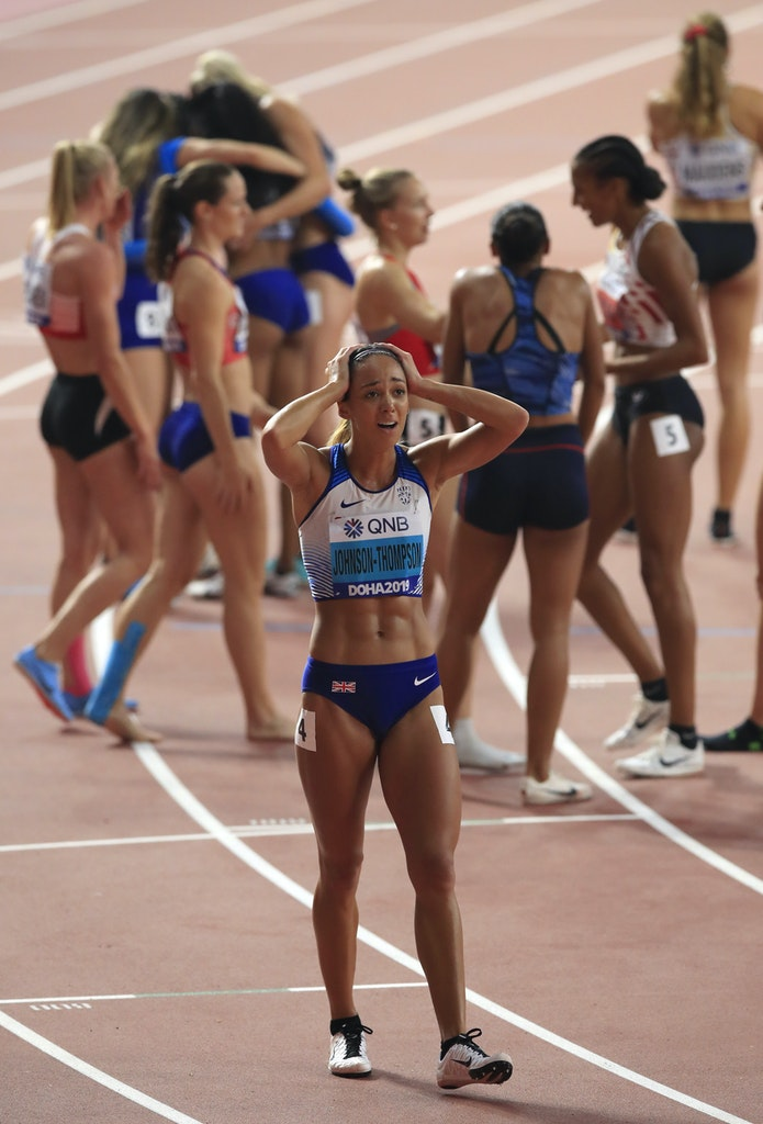 17th IAAF World Athletics Championships Doha 2019 - Day Seven - DOHA, QATAR - OCTOBER 03:  Katarina Johnson-Thompson of Great Britain reacts after the...