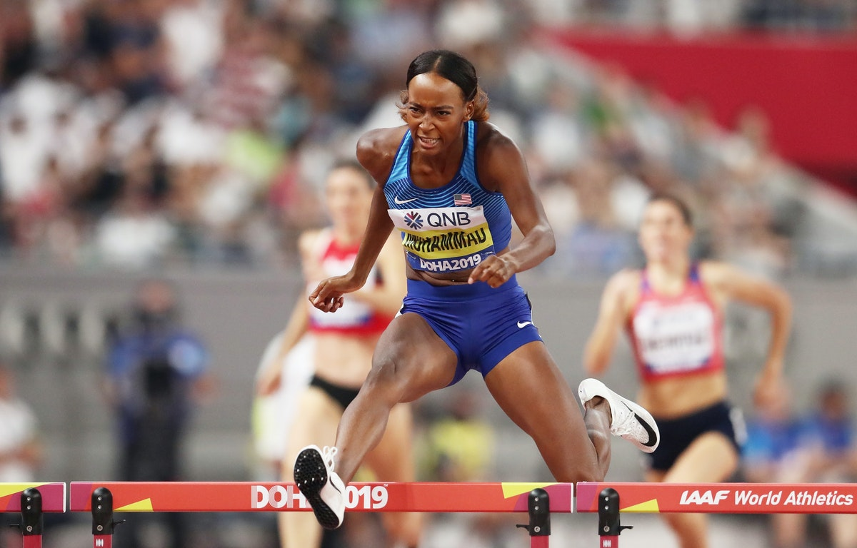 17th IAAF World Athletics Championships Doha 2019 - Day Eight - DOHA, QATAR - OCTOBER 04: Dalilah Muhammad of the United States competes in the Women's...