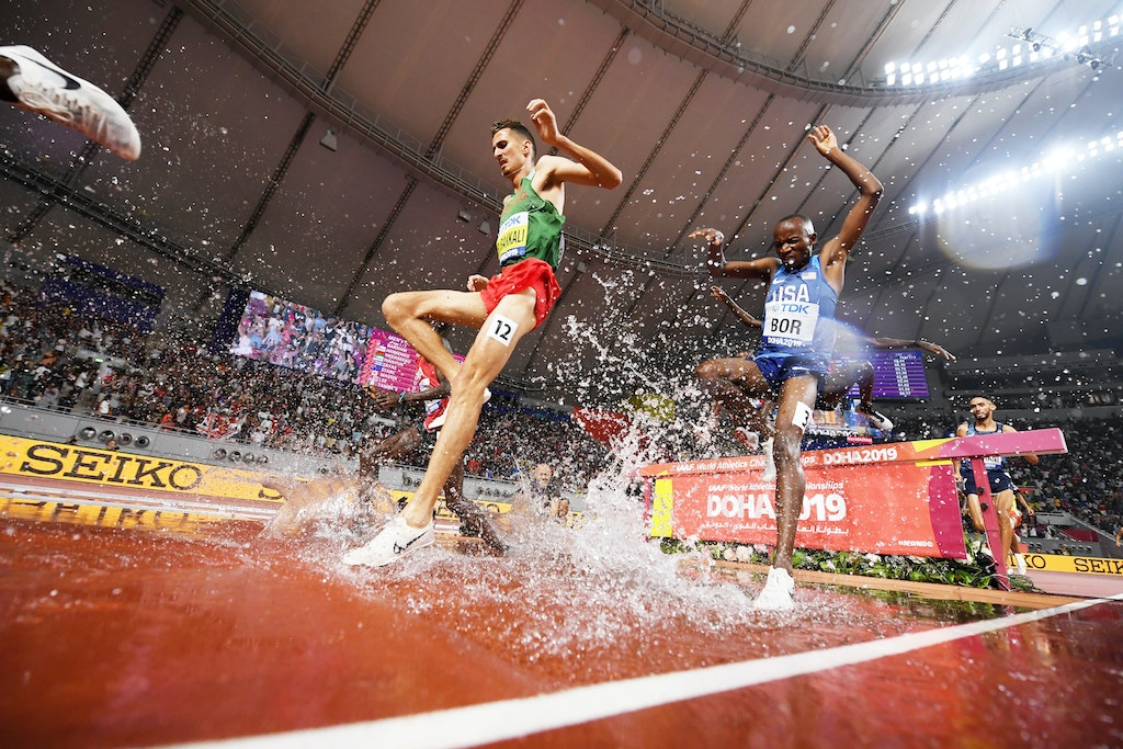 17th IAAF World Athletics Championships Doha 2019 - Day Eight - DOHA, QATAR - OCTOBER 04: Soufiane El Bakkali of Morocco and Hillary Bor of the United...