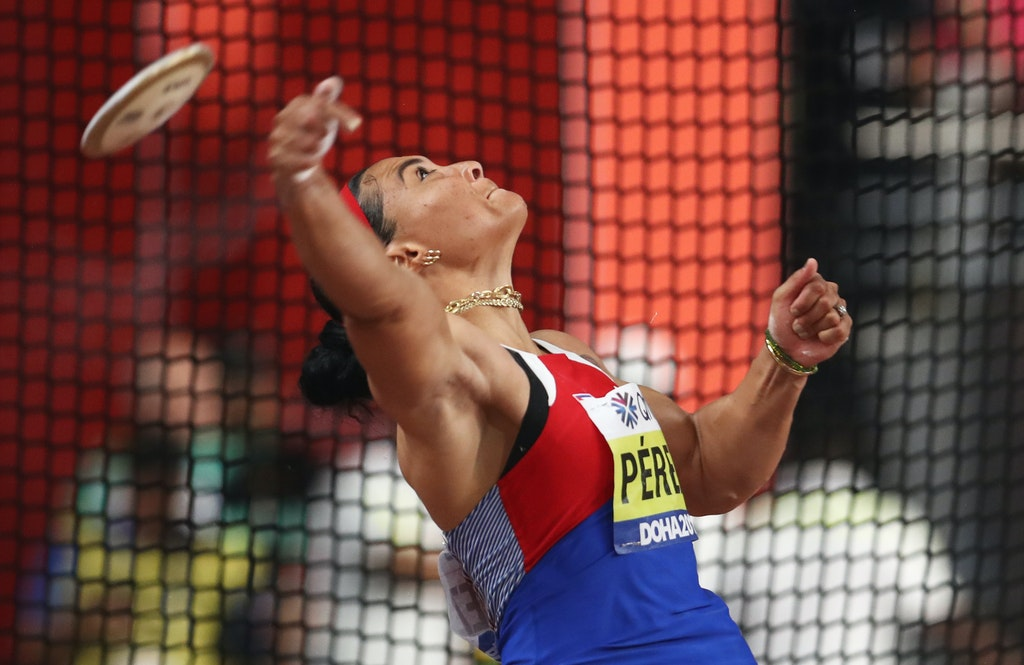 17th IAAF World Athletics Championships Doha 2019 - Day Eight - DOHA, QATAR - OCTOBER 04: Yaimé Pérez of Cuba competes in the Women's Discus final during...