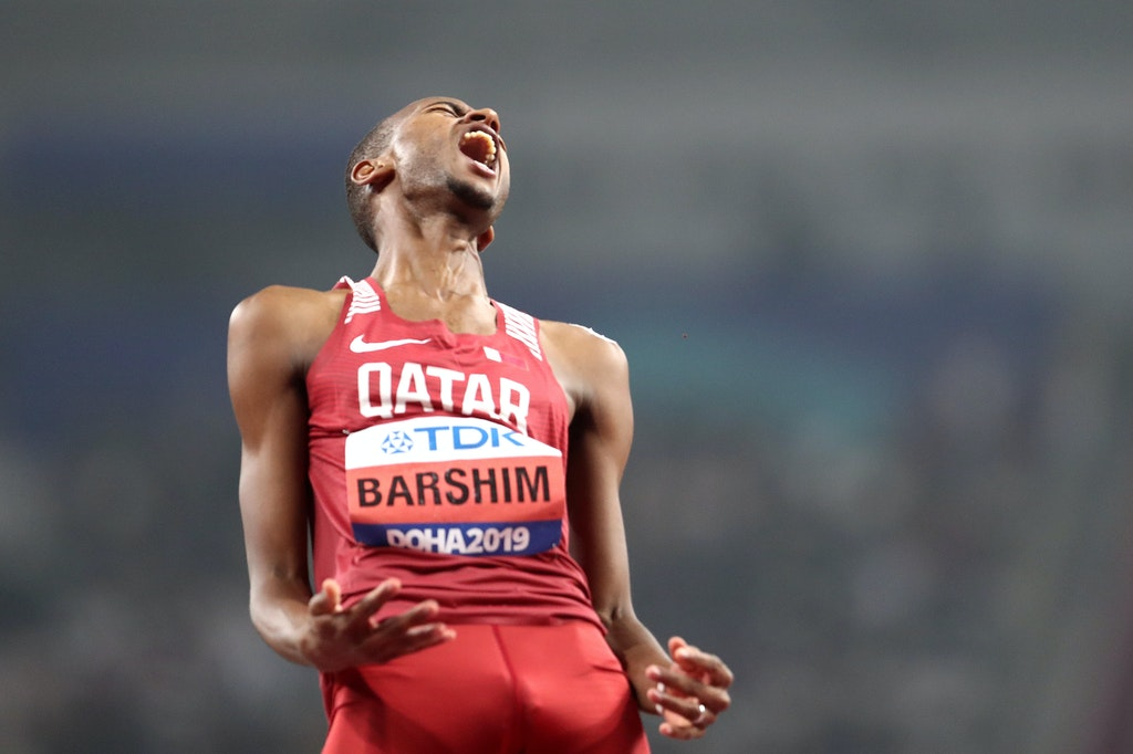 17th IAAF World Athletics Championships Doha 2019 - Day Eight - DOHA, QATAR - OCTOBER 04: Mutaz Essa Barshim of Qatar reacts in the Men's High Jump final...