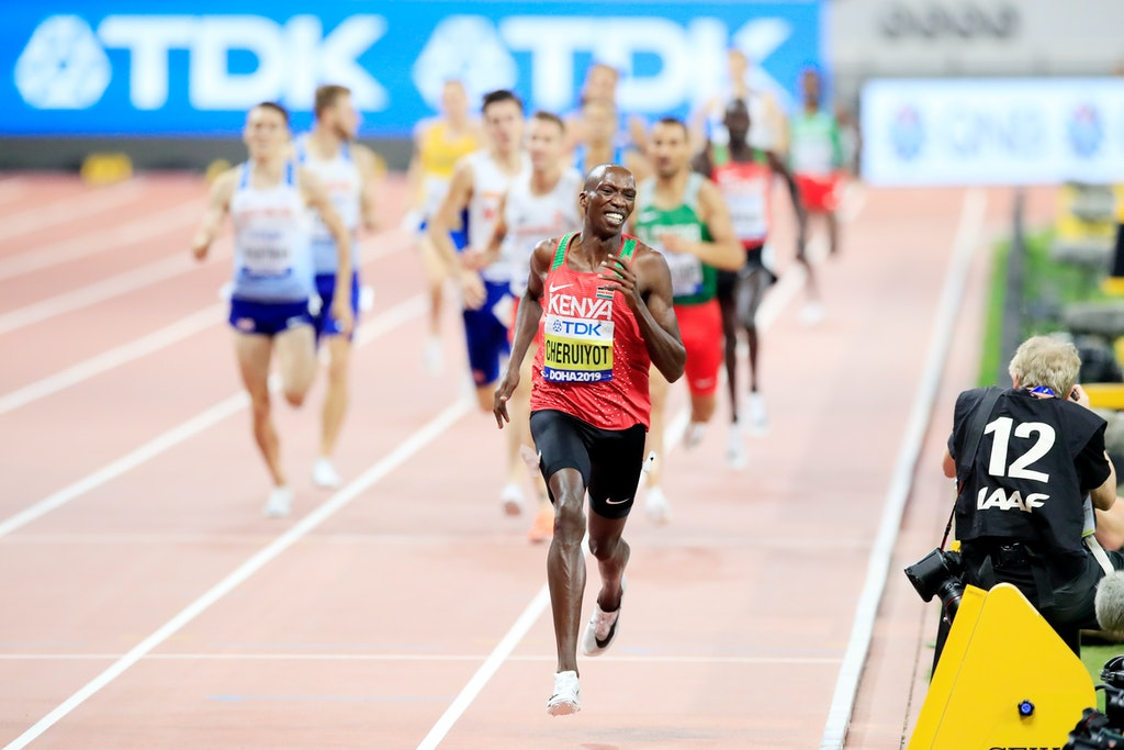17th IAAF World Athletics Championships Doha 2019 - Day Ten - DOHA, QATAR - OCTOBER 06:  Timothy Cheruiyot of Kenya wins gold in the Men's 1500 metres...