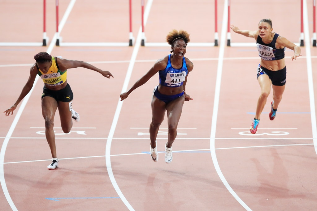 17th IAAF World Athletics Championships Doha 2019 - Day Ten - DOHA, QATAR - OCTOBER 06: Nia Ali of the United States celebrates winning gold in the Women's...