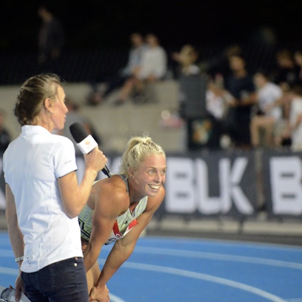 Liz Clay - An exasperated Liz Clay is interviewed by Tamsyn Manou after winning the 100m hurdles at the 2020 Melbourne Track Classic in 12.94 seconds,...