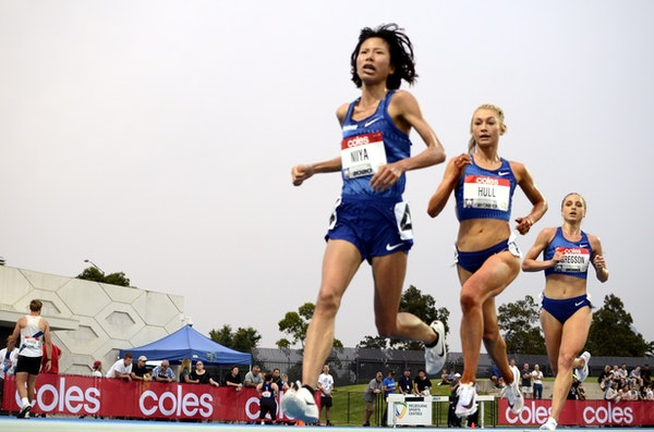 5000m - Hitomi Niiya leads Jessica Hull and Genevieve Gregson during the 5000m at the 2020 Melbourne Track Classic at Lakeside Stadium.