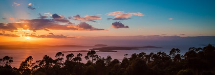 Derwent River sunrise - A warming Summer sunrise over Storm Bay and the entrance to Hobart's Derwent River.