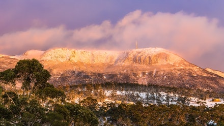 Mount Wellington snowfall - A heavy August snowfall turns Hobart's Mount Wellington into a spectacular sight for locals and visitors alike.