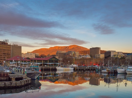 Hobart sunrise cityscape - The beauty of Hobart's waterfront with Mount Wellington as a backdrop.