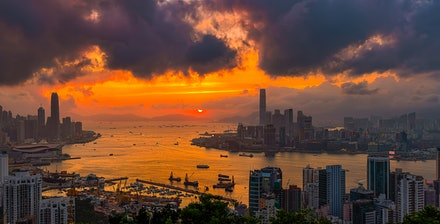 Braemar Hill Sunset 2 - The hike up Braemar Hill on Hong Kong Island is a little tricky to find, but certainly worth the effort. The back along the harbour...