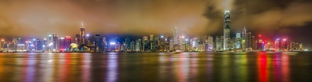 Hong Kong Island Night Panorama - A long exposure panorama of Hong Kong Island at night captured from Tsim sha Tsui. The image is made up of 36 images...