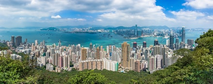 Western Harbour Panorama - Captured from Lugard Road on Victoria Peak, this panoramic image shows the Western part of Hong Kong Island and Kowloon Peninsula...