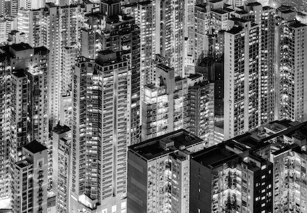Hong Kong Tetris - Central Hong Kong, one of the world's most densely populated cities.