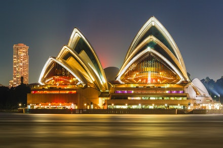 Sydney Opera House at night - One the world's most recognisable buildings is the Sydney Opera House. Opened in 1973, it is one of the great iconic buildings...