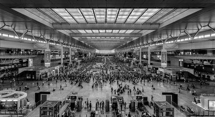 Shanghai South Railway Station - Organised chaos is the best way of describing the railway stations in China!! This image is captured at around 7.00am...