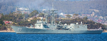 HMAS Sydney arriving in Hobart - The Royal Australian Navy Adelaide class frigate HMAS Sydney arriving in to the port of Hobart. HMAS Sydney was in Hobart...