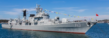 PLAN 'Qingdao' - The sleek lines China's People's Liberation Army Navy Type 052 Luhu-class guided missile destroyer 'Qingdao' anchored in Sydney Harbour....