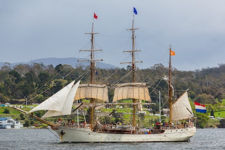 Tall ship 'Europa' - The steel-hulled barque 'Europa' during the parade of sail on Hobart's Derwent River at the end of the Tall Ships Festival.