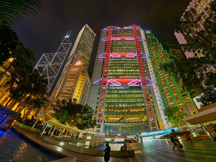 HSBC Building by night - One of the most recognisable buildings in Central is the HSBC Building,  headquarters building of The Hongkong and Shanghai Banking...