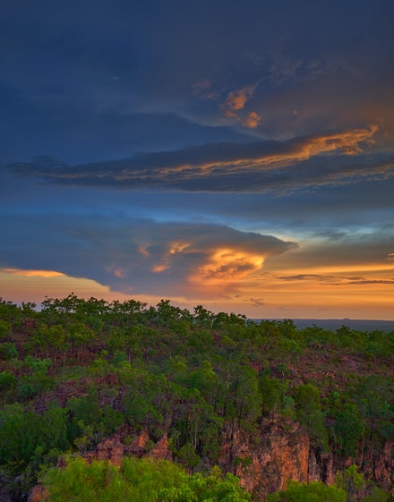 Litchfield National Park sunset - A distant storm cloud at sunset over Litchfield National Park from the Tolmer Falls lookout.