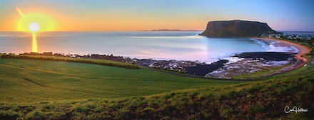 'The Nut' Panorama - A perfect Spring sunrise over the famous landmark of 'The Nut' at Stanley on Tasmania's NW Coast.