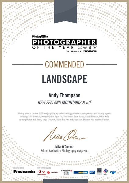 2017 Australian Photographer of the year certificate_COMMENDED_landscape