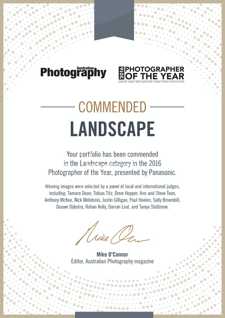 2016 Australian Photographer of the year certificate_COMMENDED_landscape