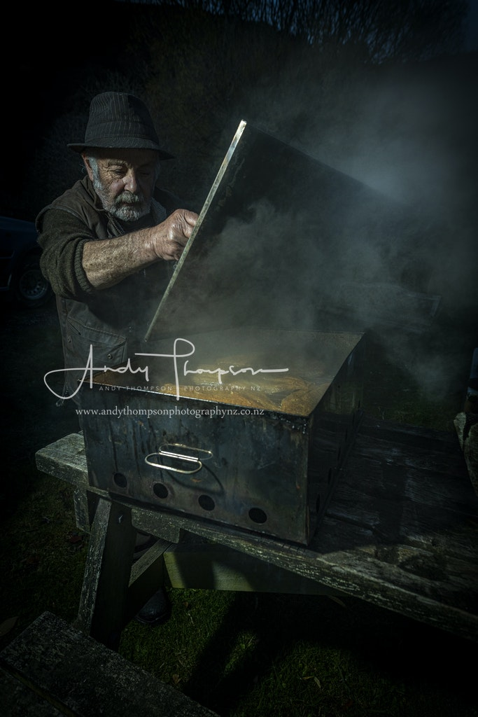 Trev Baines Smoking Fish - Personal Note: I have wanted to photograph Trev ever since I met him at Careys Bay Tavern 2 years ago. He is a striking, talented...